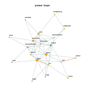 Co-occurrence graph on the basis of protest event descriptions within newspapers